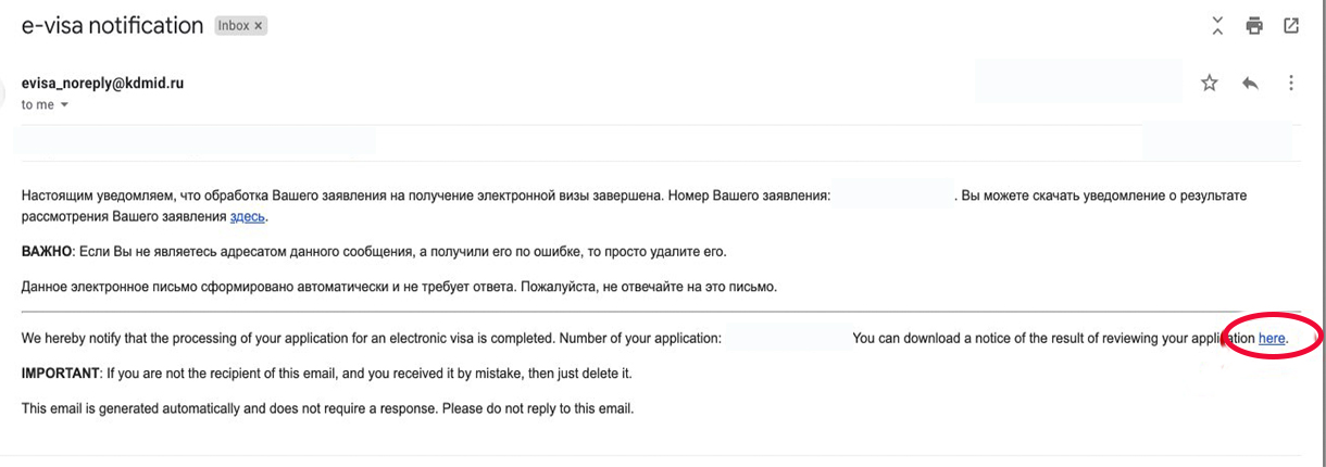 russia e-visa notification